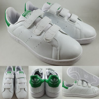 Sepatu Kets Adidas Stan Smith Velcro White Green Putih Hijau
