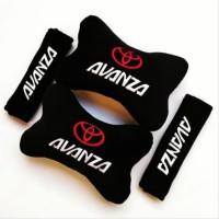 Bantal Mobil Car set headrest lengkap 2 in 1 motif TOYOTA AVANZA