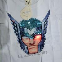baju kaos anak laki cowok lampu led nyala thor putih t-shirt sz 1-6th