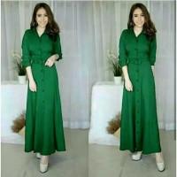 Baju Atasan Wanita Maxi Dress Baju Muslim Gamis hijau daun