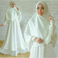 Gamis Putih Polos Setelan Haji Umroh Baju Gamis Wanita
