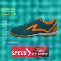 Sepatu Futsal SPECS HORUS IN tosca/orange - Hijau Tosca, 43 Limited