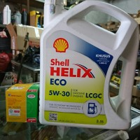 Paket ganti oli Shell Helix ECO 5w 30 oli mobil ayla agya calya sigra