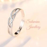 Cincin single pria wanita unisex cincin perak emas putih silver import