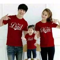 Kaos family couple super mom dad kid lengan pendek - baju keluarga