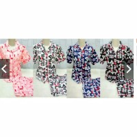 set piyama fila celana pendek lengan pendek - baju tidur fila pajamas