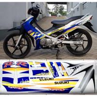 Stiker Cutting Suzuki - Striping Motor Satria Hiu Lscm Putih Biru