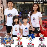 [FREE NAMA] Kaos Sonic [Kode: SNC] | Baju Anak Dewasa Couple Keluarga