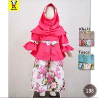 baju muslim setelan gamis celana kulot bunga anak perempuan