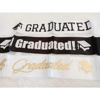 Selempang Sash Graduated / Slempang Lulus Sidang / Wisuda Putih Hitam