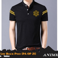 Kaos Polo Shirt Anime One Piece Trafalgar Law Double Strips (PA OP 21)