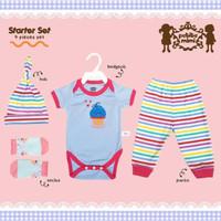 baju setelan bayi newborn petite mimi starter set premium