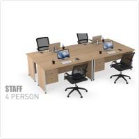 Meja Tulis Kerja Staff Kantor 4 Orang 120 x 75 Laci Gantung 3 Susun
