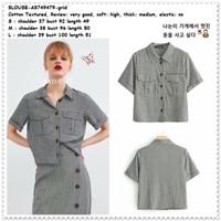 Baju Atasan Kemeja Kotak Wanita Korea Import AB749479 Hitam Putih