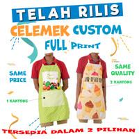 APRON FULL PRINT Celemek Makan Apron Pelayan Custom Celemek Full Print