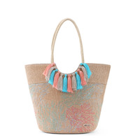 Sakroots Lola Beach Bag Embroidered Coral Nation