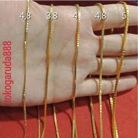 Rantai kalung emas asli kadar 700 22k 70% milano kotak ukir 3 4 5 g gr