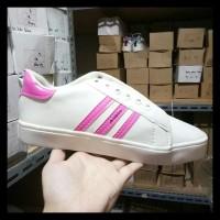Sepatu Kets Replikas Adidas Putih Plat 3 Fanta / Pink Special