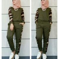 Fashion Wanita Setelan Cewek stelan training loreng/baju senam