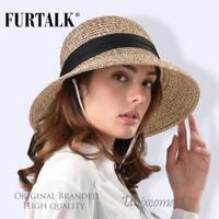 Furtalk SH020 Straw Hat Topi Pantai Rajut Panama Fedora Jerami