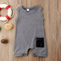 romper Baby motif abu abu black pocket