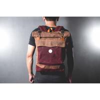 Frunk Rolltop Backpack Waxed Canvas Gustav Tas Pria Ransel - Maroon