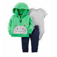Baby Boy Set 3in1 Dino Green   Baju Hoodie Jumper Bayi Murah Lucu