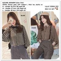 Baju Atasan Kemeja Kotak Wanita Blouse Korea Import AB436549