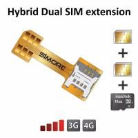 Dual simcard adapter Hybrid / Sim card Extender MicroSd Card converter