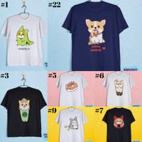 Baju Kaos Tshirt Dewasa Anak Karakter Anjing Welsh Corgi Hewan Lucu
