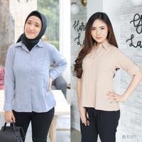Simply Plain Basic Shirt Kemeja Kerja Polos Wanita BL1005