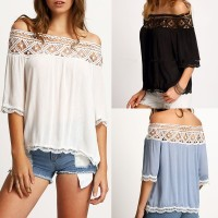 Fashion Women Sexy Off Shoulder Casual Short Sleeve Lace Slim Top
