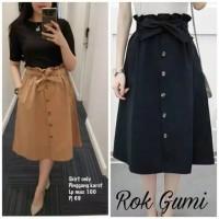 rok pendek wanita / rok polos ribbon aksen kancing simple vintage yumi