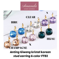 Anting giwang kristal korean crystal stud earing 6 warna FTB2