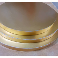 Styrofoam tatakan lapis gold paper 22 cm bulat / alas kue gabus