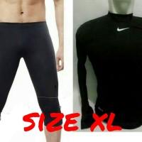 setelan manset panjang dan celana 3/4 size xl hitam / baju olahraga