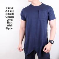 Kaos Tanpa Lengan Kaos T Shirt Pria Long Line With Zipper Navy 4636