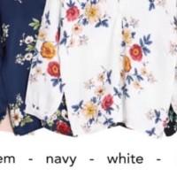 Blouse Terbaru BARU! Baju Atasan Wanita Blouse V-Neck Floral bahan