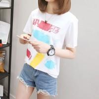Baju Kaos T-Shirt Wanita White 7 Graffiti (L) Import Original
