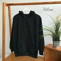 Hoodie jumper polos premium bahan cotton fleece standar distro - Putih, M