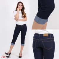 Celana Pendek Jeans Wanita Pensil Big Size Skinny 7/8 Jumbo Cewek - Biru Dongker, 27
