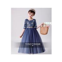 Dress Anak Warna Biru Dongker Rok Mengembang Motif Burung Bangau Keren