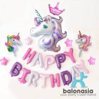 Balon Foil Set Unicorn Ungu Crown Princess Mini