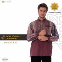 Baju Koko Lengan Panjang Catton India Songket Origami 931