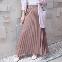 rok panjang plisket pleated skirt rok rempel panjang