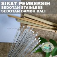 BALI Sikat Pembersih Sedotan Stainless Bambu Bamboo Straw Brush x Kaca