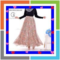Rok Panjang Payung Muslimah Sifon Flowery Chiffon Umbrella Skirt Bunga