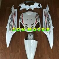 Cover body mio sporty full set bagian halus warna putih plus striping