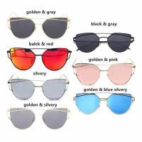 Kacamata Metal Frame Colored Lens UV Protection Sunglasses Vintage