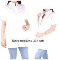 Baju Hamil Putih 1227 - Atasan Hamil Kerja Formal Kantor Lengan Pendek